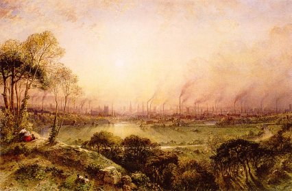 Manchester vista desde Kersal Moor (William Wide (1857)